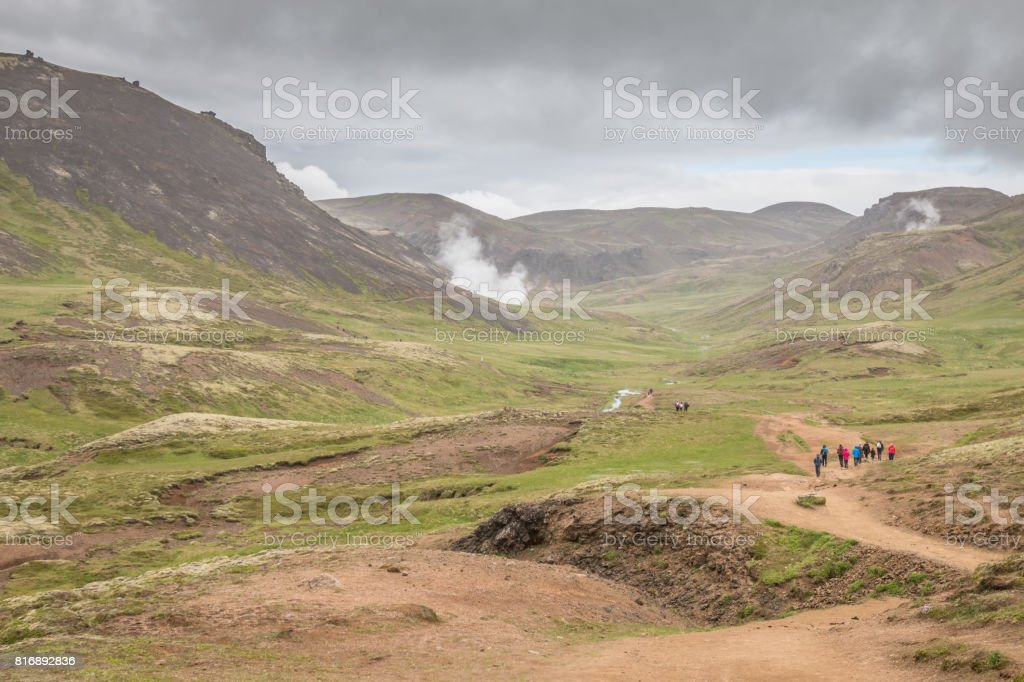Reykjadalur hot springs in Iceland stock photo