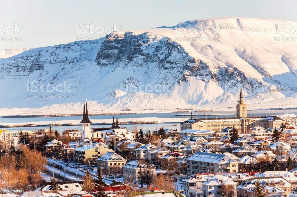 Reykjavik city view of Hallgrimskirkja from Perlan Dome, Iceland stock photo