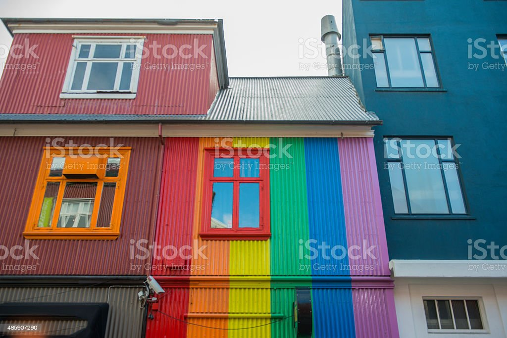Reykjavik houses in a row stock photo