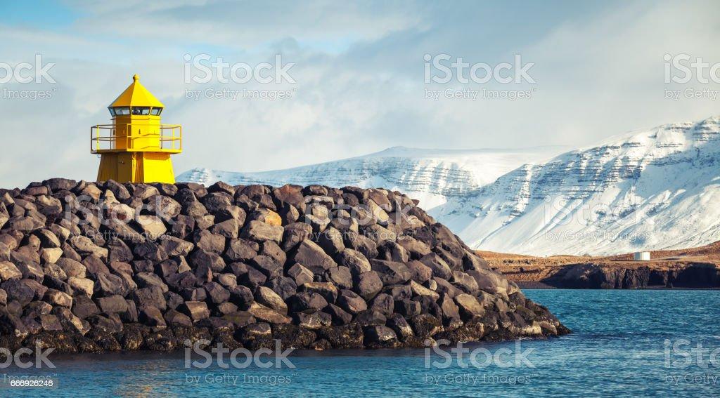 Reykjavik, Iceland. Yellow lighthouse tower stock photo