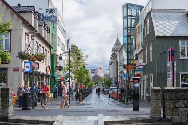 Reykjavik Main Street stock photo