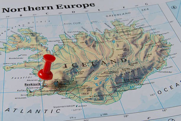 Royalty Free Map With Pin In Reykjavik Iceland Pictures Images - Reykjavík map