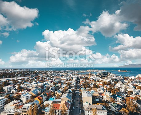 View from above on colorful buildings in Reykjavik (Iceland).