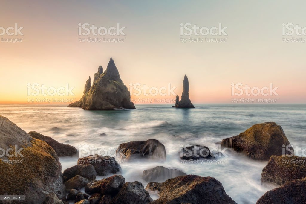 Reynisdrangar cliffs on Black sand beach, Vik, Iceland stock photo
