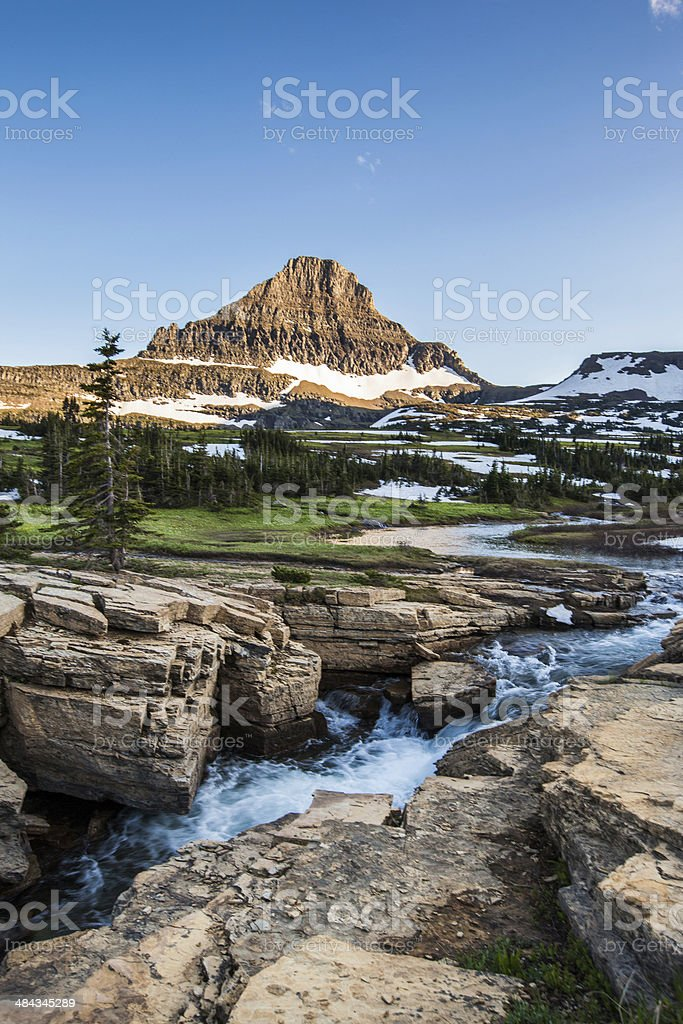 Reynolds Mountain at Logan Pass, Glacier National Park stock photo