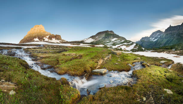 reynolds mountain at logan pass, glacier national park - utah stock photos and pictures