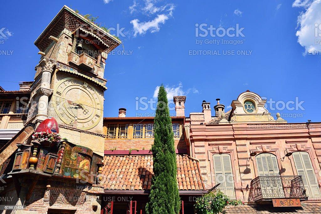 Rezo Gabriadze falling tower. Marionette Theatre stock photo