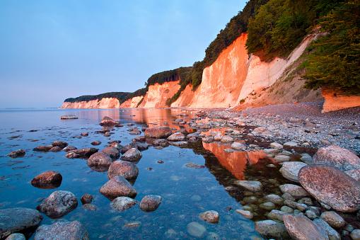 Rügen Island Chalk Cliffs in Warm Light of Rising Sun