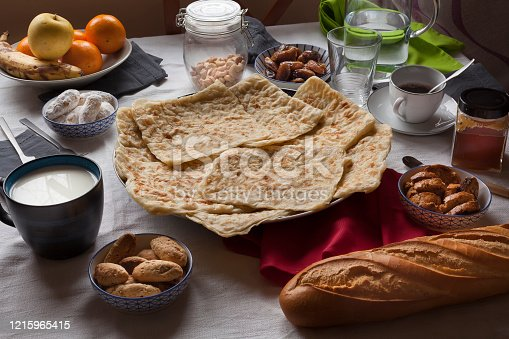 istock Rghayf moroccan pancakes on ramadan table stills. 1215965415
