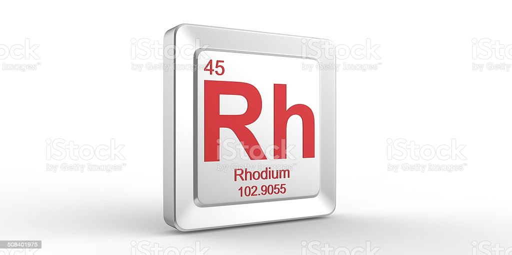 Rh Symbol 45 Material For Rhodium Chemical Element Stock Photo