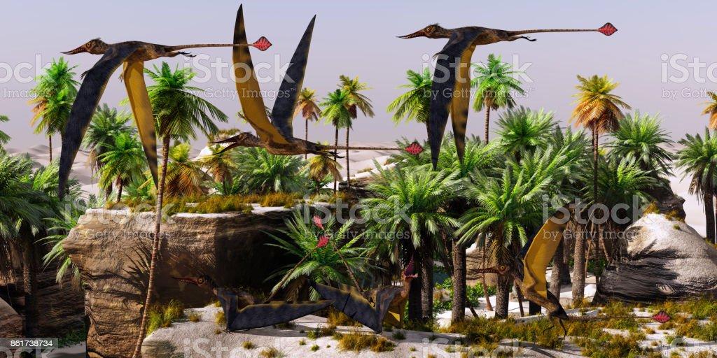 Rhamphorhynchus Jurassic Habitat stock photo