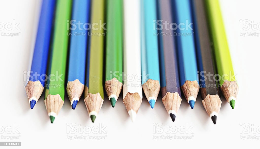 Rhapsody in blues: many shades of pencil crayon on white royalty-free stock photo