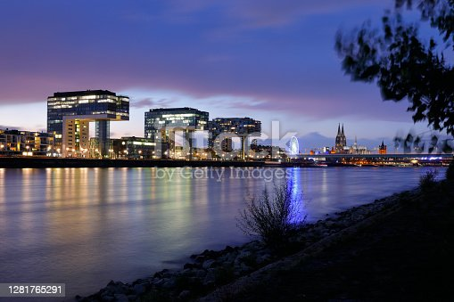 istock Rheinauhafen and Cologne Cathedral in Twilight 1281765291