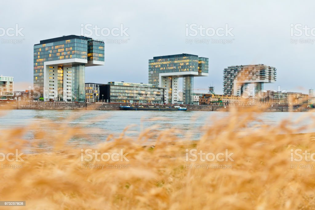 Rheinauhafen Crane Buildings, Cologne, Germany stock photo