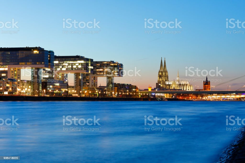 Rheinauhafen Skyline and Cologne Cathedral at night stock photo