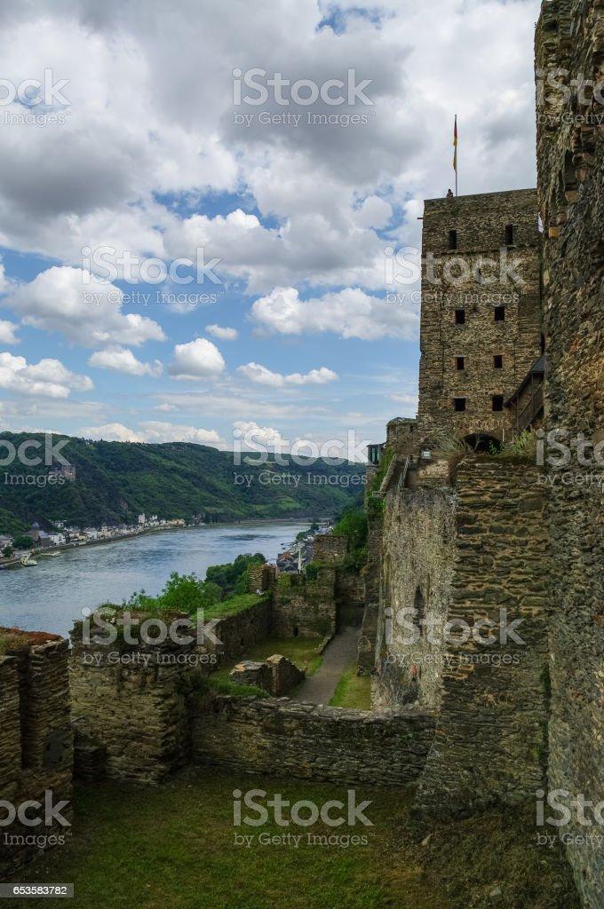 Rheinfels Castle near Village of Sankt Goar  at Rhine River,middle Rhine Valley, Rheingau, Rhineland-Palatinate, Germany stock photo