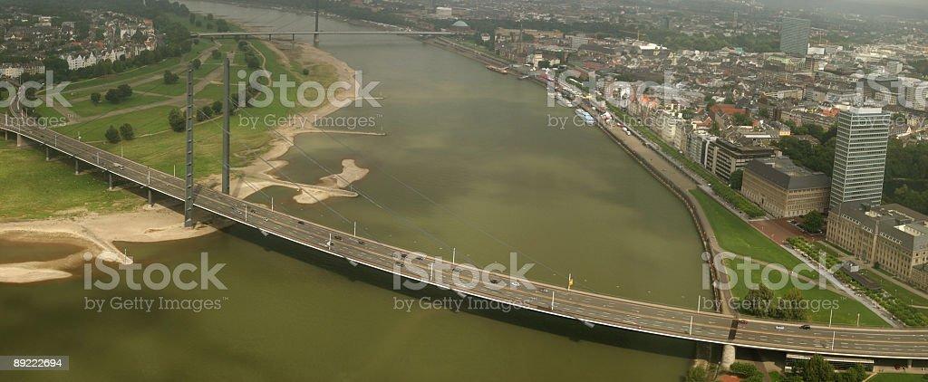 Rheinkniebrücke in Düsseldorf stock photo
