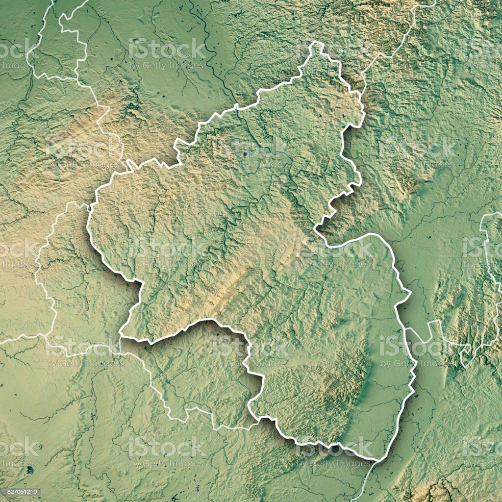 rheinland pfalz bundesland 3d render topographic map border royalty free stock photo