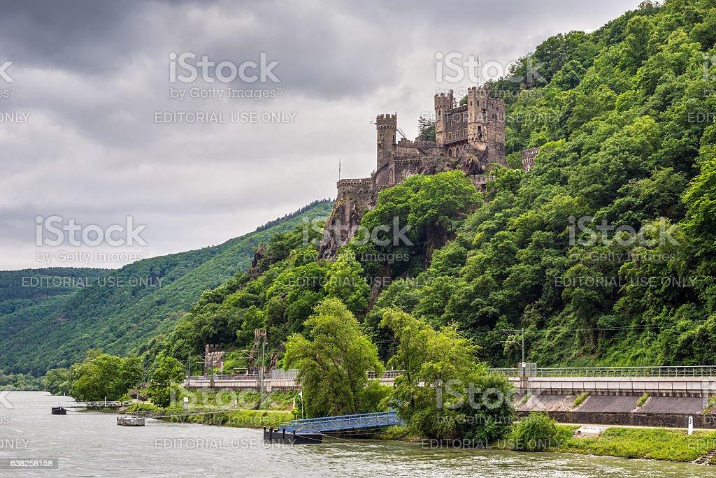 Rheinstein Castle on the Rhine Gorge stock photo