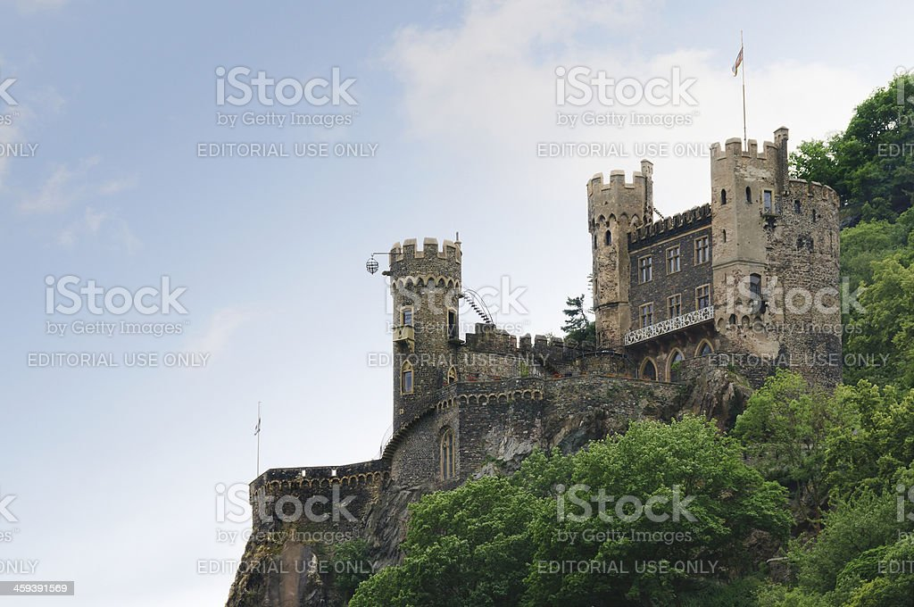 Rheinstein Castle on the Rhine River, Germany stock photo