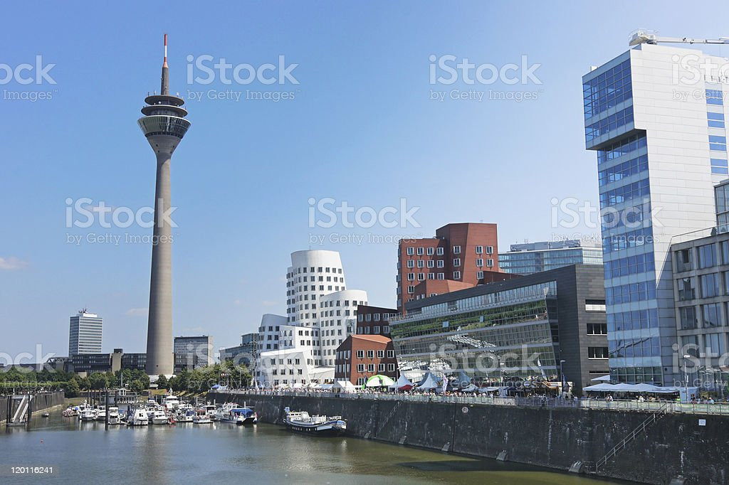 Rheinturm tower Dusseldorf stock photo