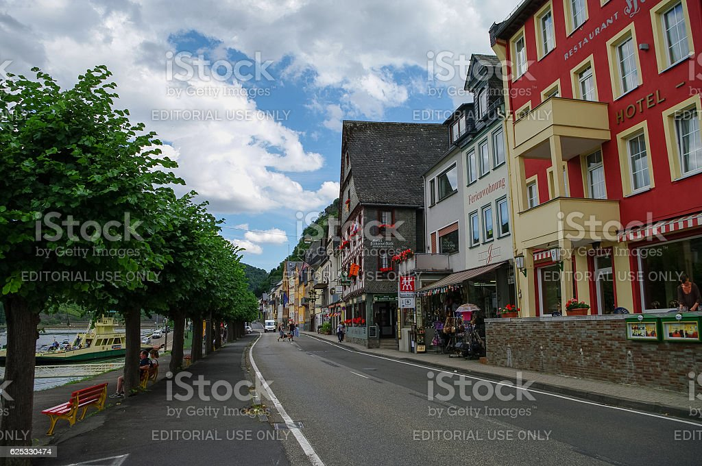 Rhine embankment in medieval village of Sankt Goar stock photo