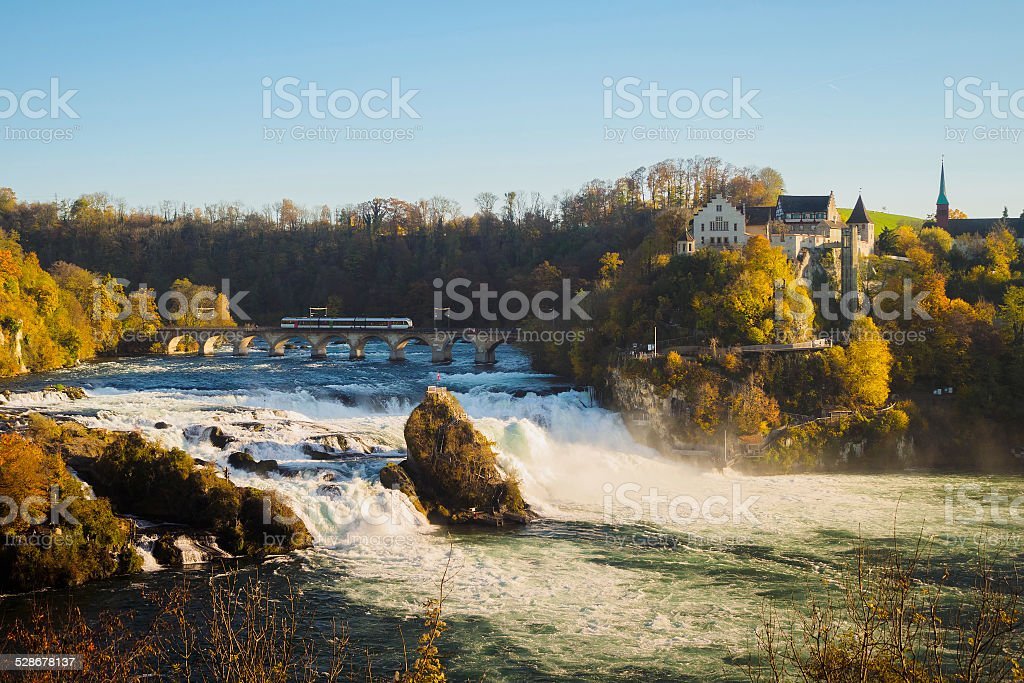 Rhine falls and train stock photo