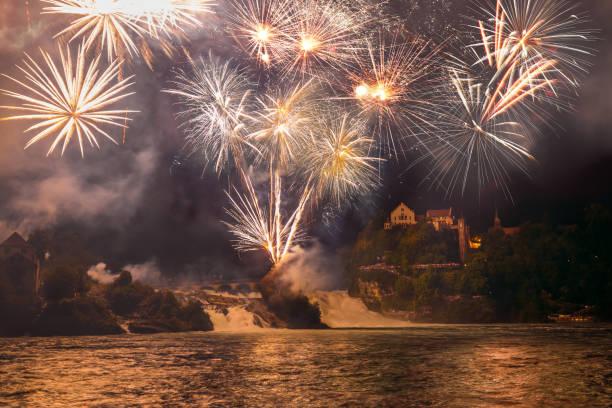 Rhine Falls Fireworks stock photo