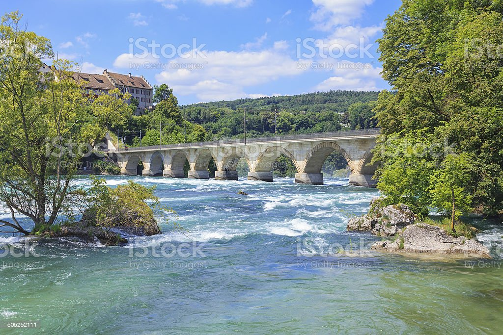 Rhine, just above the Rhine Falls stock photo