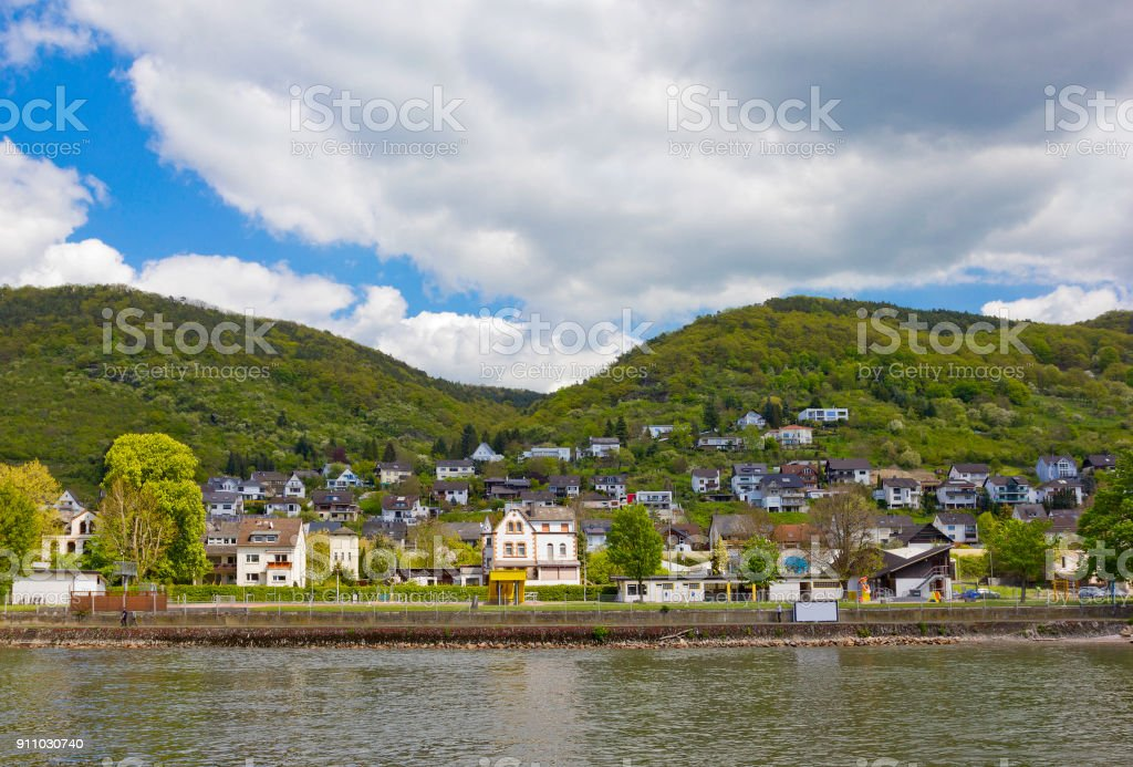 Rhine landscape with small town in Rhineland-Palatinate, Germany stock photo