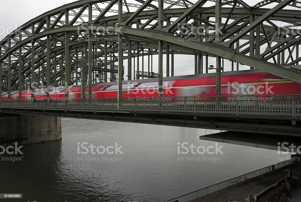 Rhine River and Railway Bridge stock photo