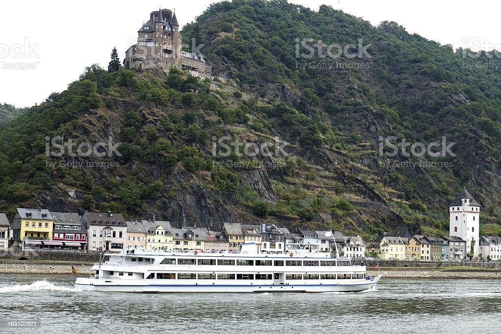 Rhine river at St. Goarshausen in Germany stock photo