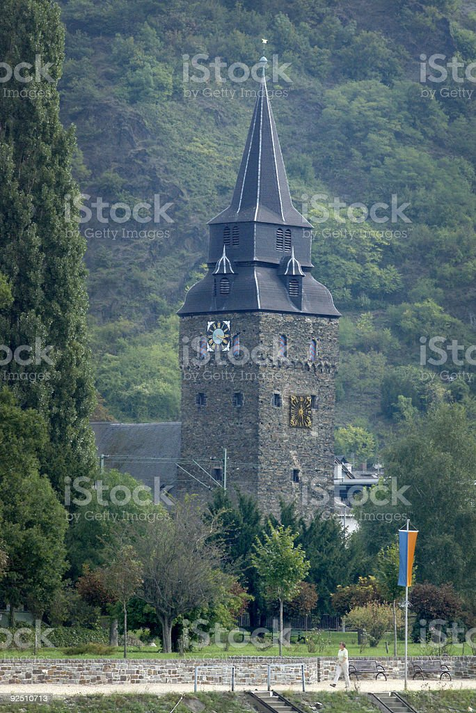 Rhine river church, Germany royalty-free stock photo