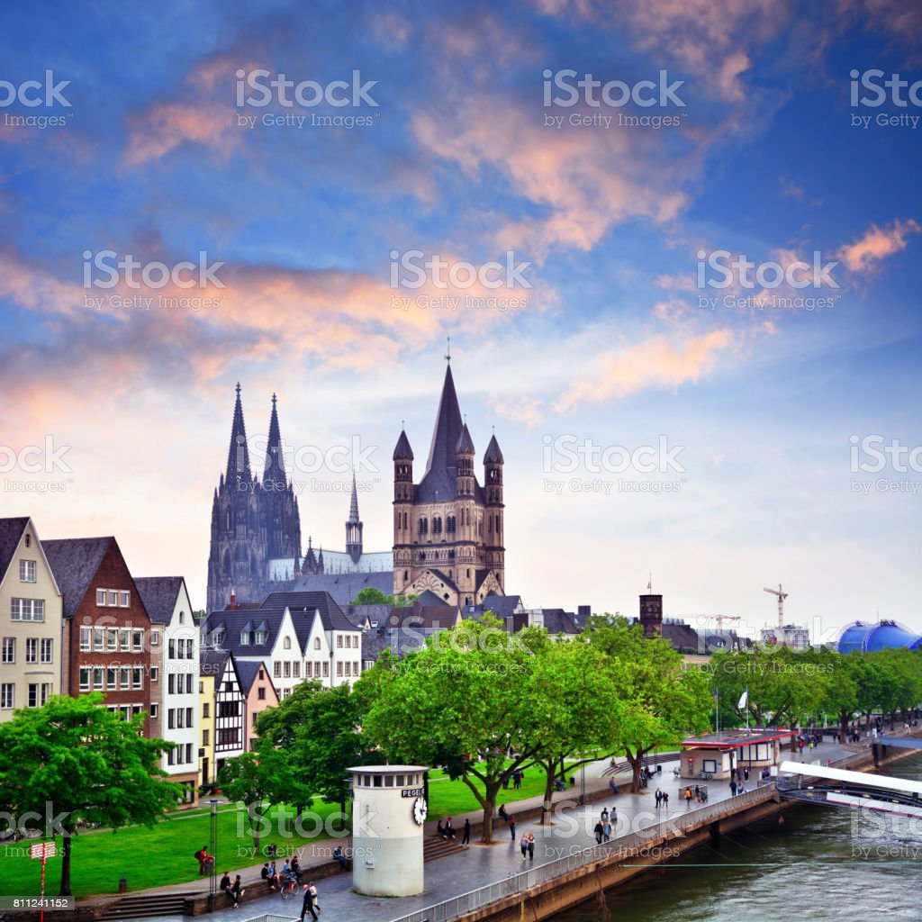 Rhine River in Cologne, Germany stock photo