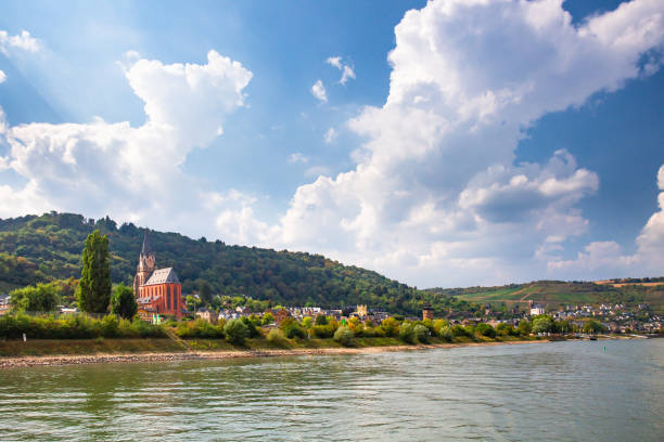 Rhine River in Germany with village of Oberwesel and castle in view stock photo