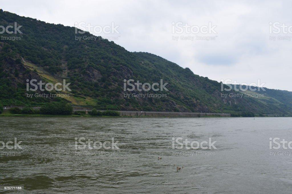 Rheintal in der Nähe von Loreley - Lizenzfrei Anhöhe Stock-Foto