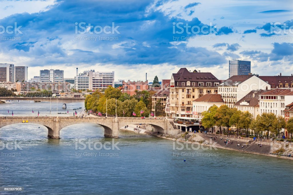 Rhine river waterfront in Basel Switzerland stock photo