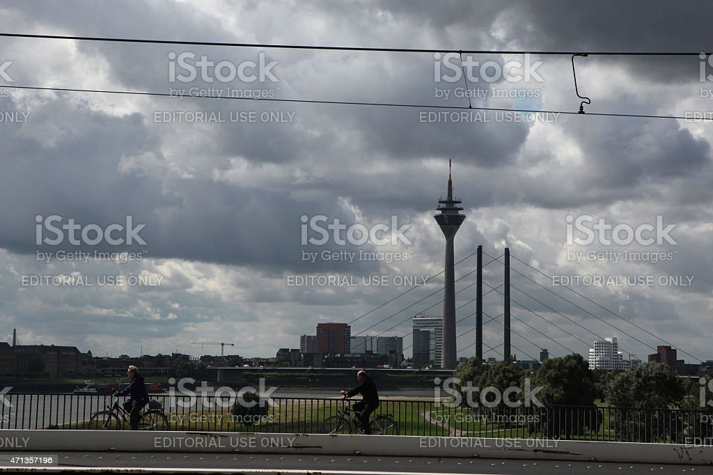 Rhine Tower in Dusseldorf, Germany. stock photo
