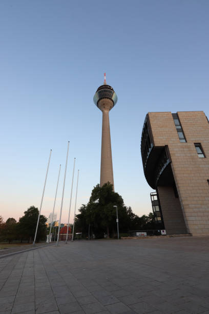 Rhine Tower, rhinetower, televisin tower in Duesseldorf Looking up to the Rhinetower, the television-tower in Duesseldorf alias stock pictures, royalty-free photos & images