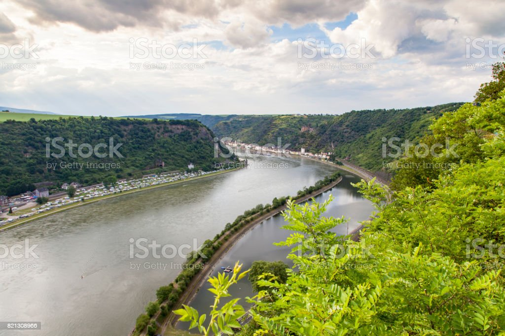 Rhine valley  Landscape  and sankt Goarshausen view from Loreley Rock stock photo
