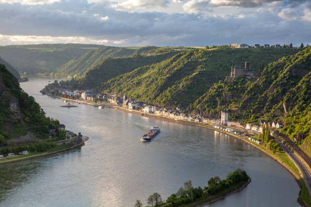 Rhine valley Landscape and Sankt Goarshausen view from the Loreley rock Germany Rhine valley Landscape and Sankt Goarshausen view from the Loreley rock Travel Germany north rhine westphalia stock pictures, royalty-free photos & images