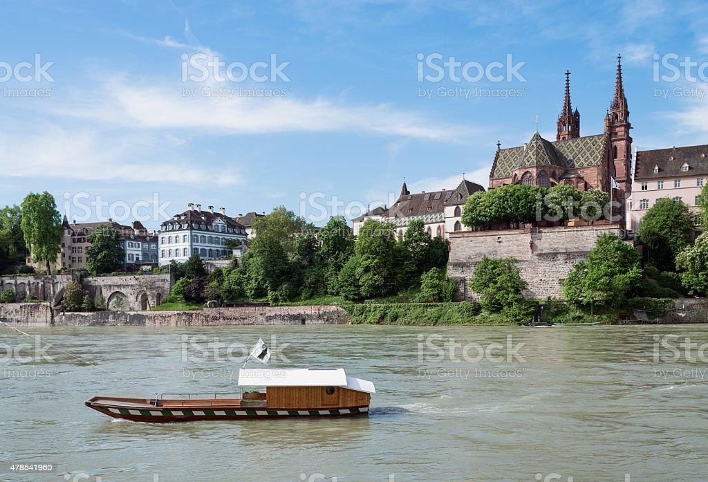 Rhine With Ferry stock photo