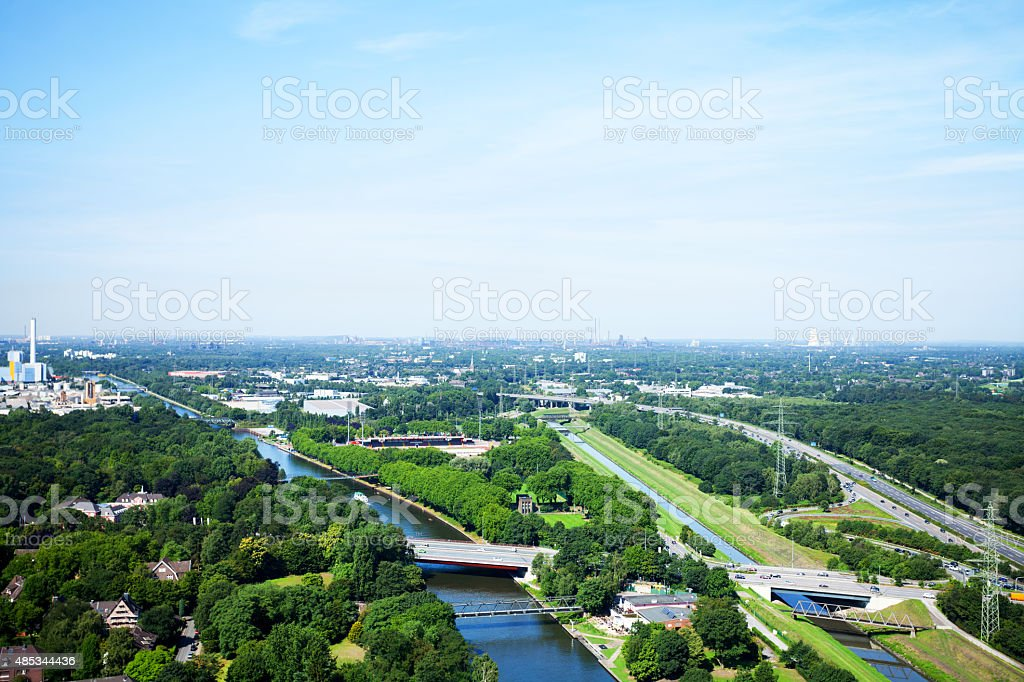 Rhine-Herne-Canal and western Ruhrgebiet stock photo