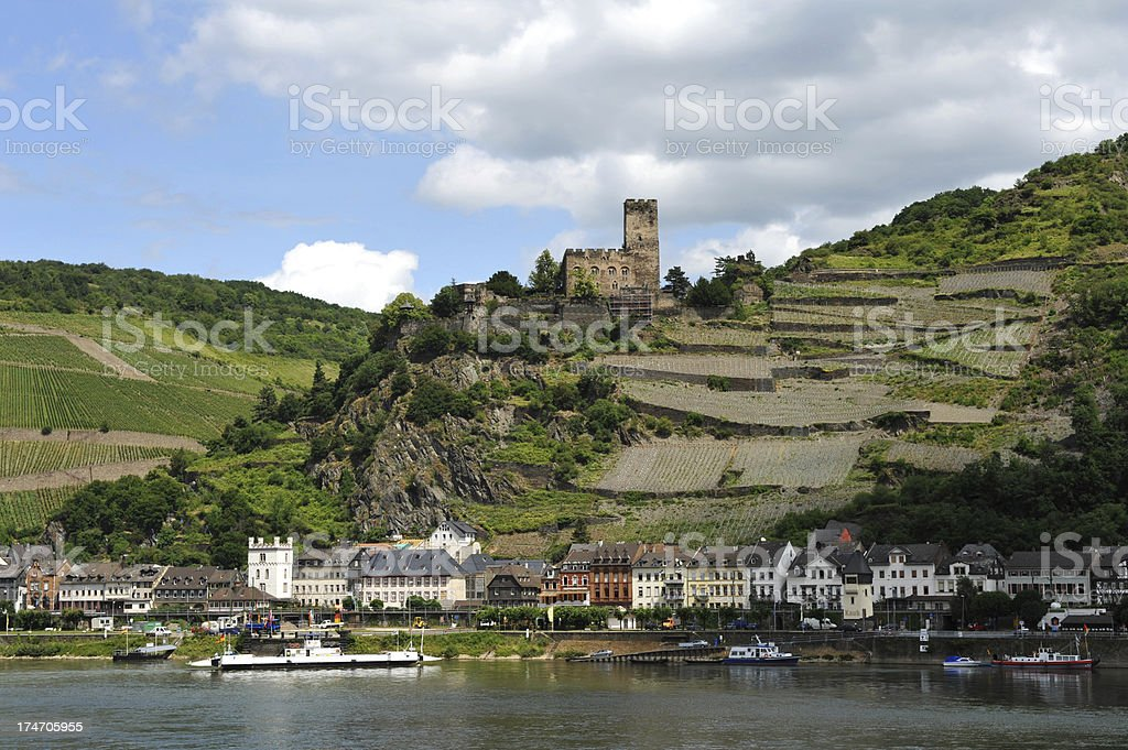 Rhineland castle Burg Gutenfels overlooking the town of Kaub, Germany royalty-free stock photo
