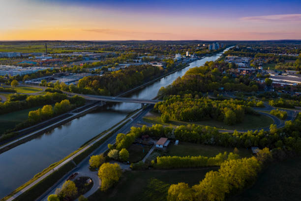 Rhine–Main–Danube Canal Erlangen Aerial View of Rhine–Main–Danube-Canal Erlangen erlangen stock pictures, royalty-free photos & images