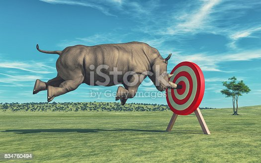 istock Rhino that aims to target 834760494
