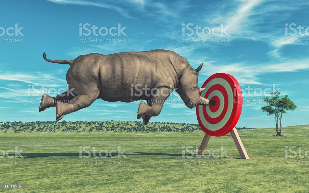 Rhino that aims to target stock photo