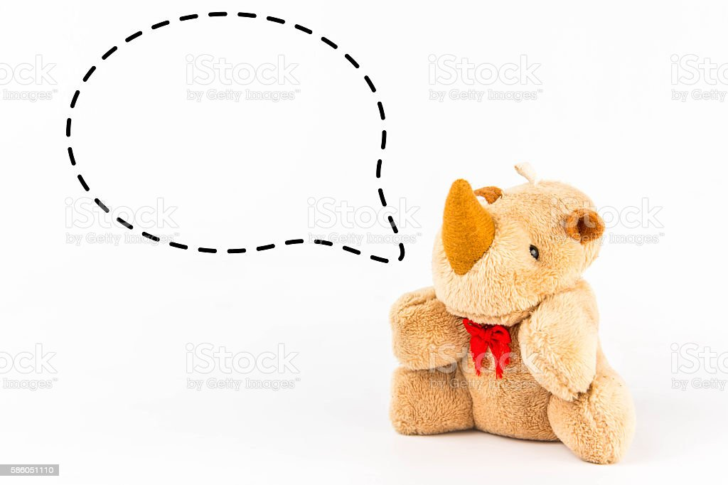 Rhinoceros doll with callout  symbol on white background stock photo