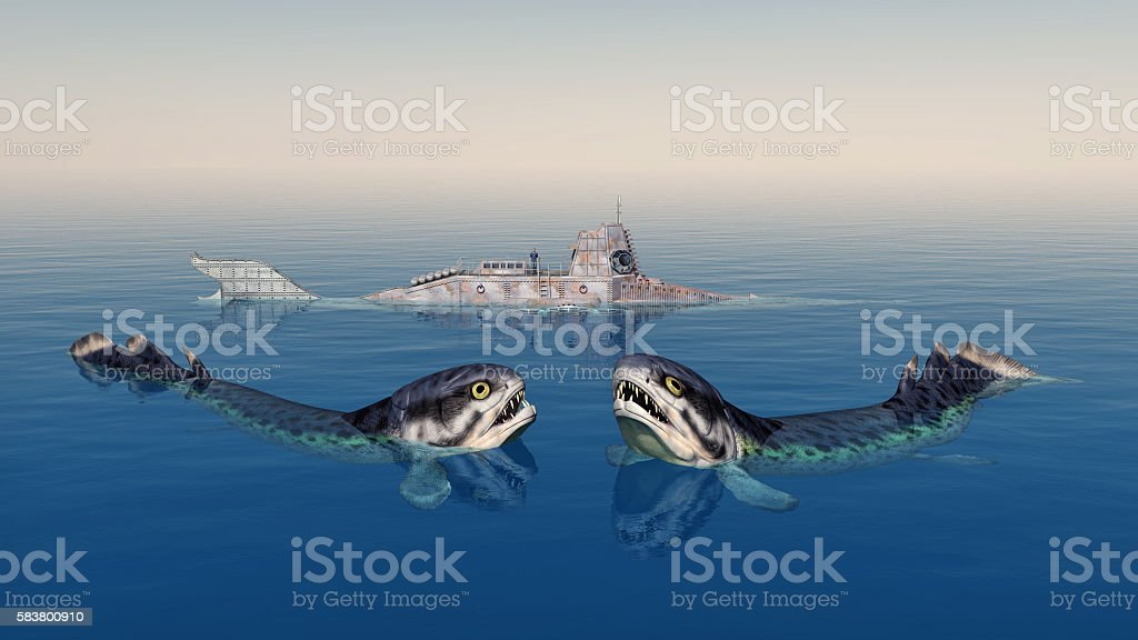 Rhizodus and fantasy submarine stock photo
