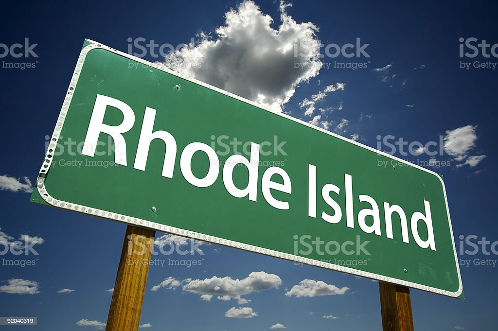 Rhode Island Road Sign stock photo